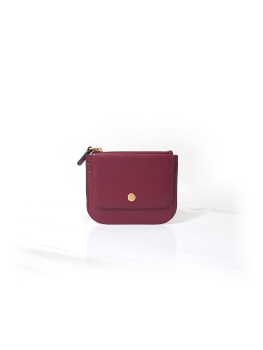 ZOE SLIM CARD WALLET_ RED WINE
