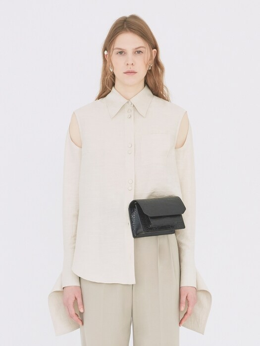 19SS KEYHOLE DETAIL BLOUSE LIGHT OATMEAL