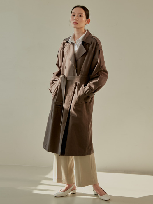 19S DOUBLE TRENCH COAT (BROWN)