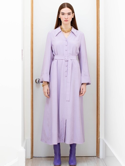 EAST VILLAGE V neck oversized shirt dress (Shiny Lilac)