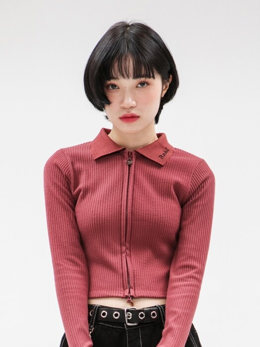RNHI COLLAR ZIP UP SLIM TOP [WINE]