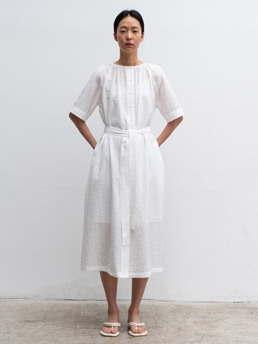 GATHERED-NECK LONG DRESS (WHITE)