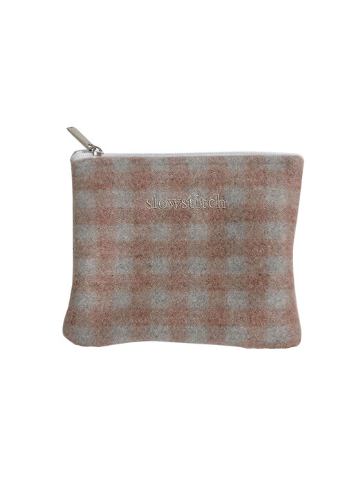 pink grey check pouch