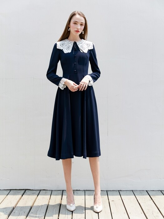 JINA Lace collar and cuffs detail flared dress (Deep Navy)