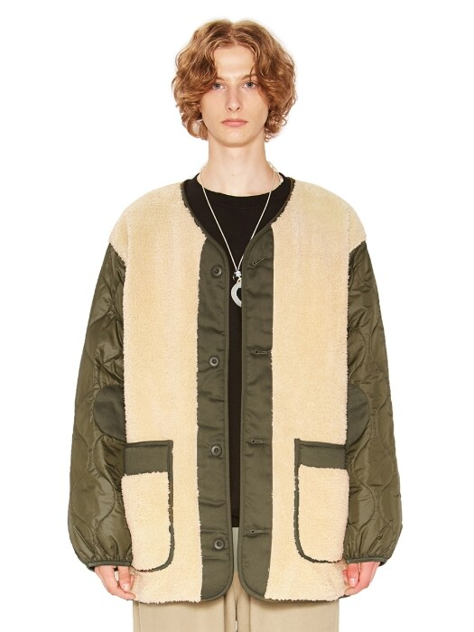 COLLARLESS SHERPA QUILTING JACKET beige