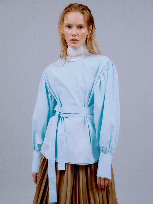 [EXCLUSIVE] INNA BELTED PUFF BLOUSE (SKY BLUE)