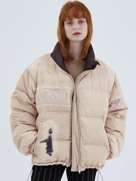 GRAPHIC REVERSIBLE PADDED JACKET, BEIGE