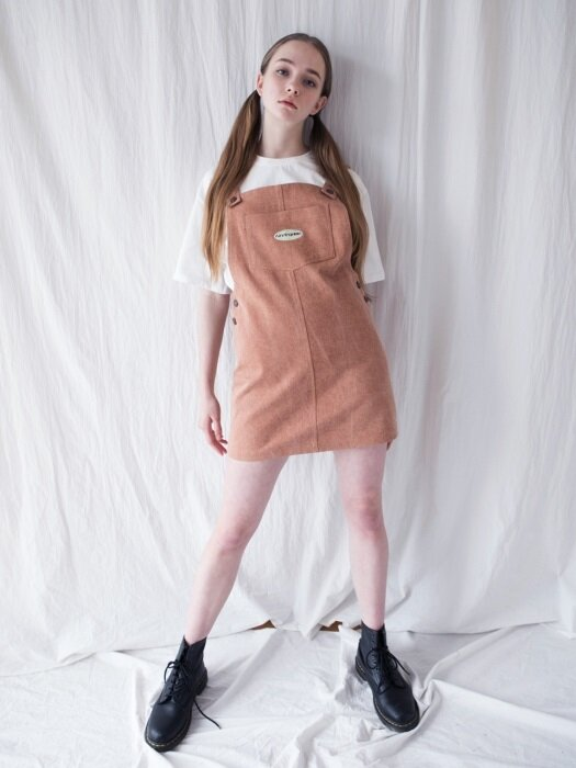 PIGMENT COTTON OVERALL SKIRT [BROWN]