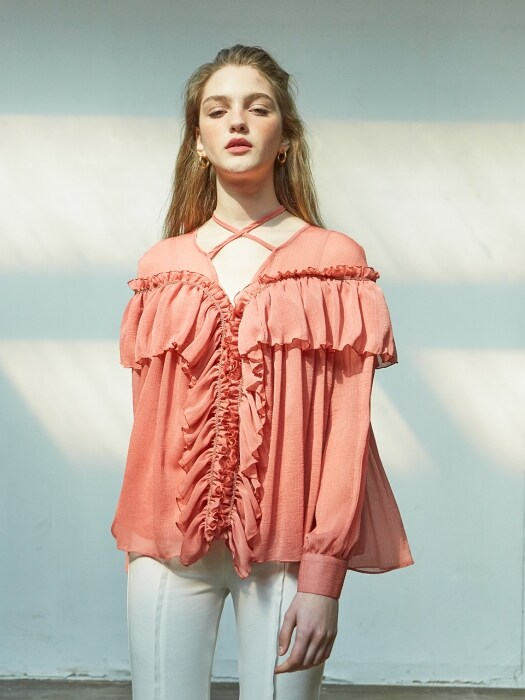 Julie Ruffle Blouse_ Coral