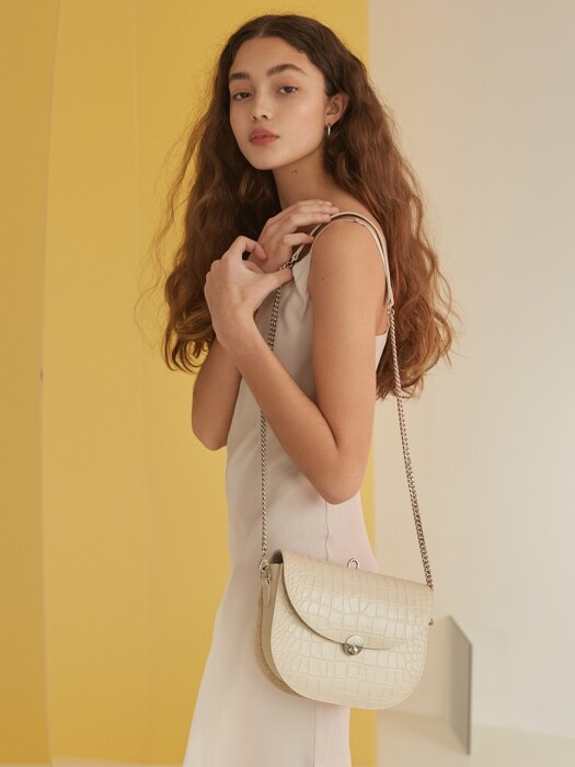 SADDLE BAG - CROCO BEIGE
