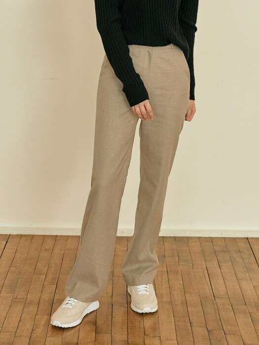 Modern straight slacks[beige]