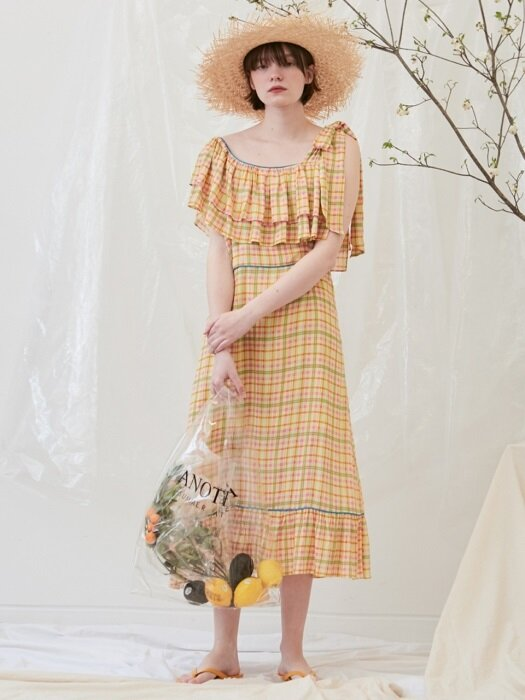 Frill ribbon dress (yellow)