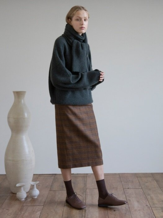 Line Check Wool Skirt (Brown Check)