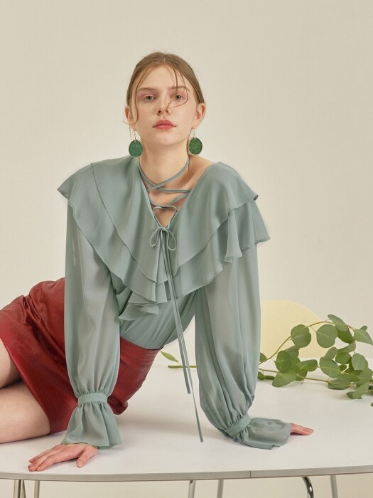 STRING POINT FRILL BLOUSE_MINT