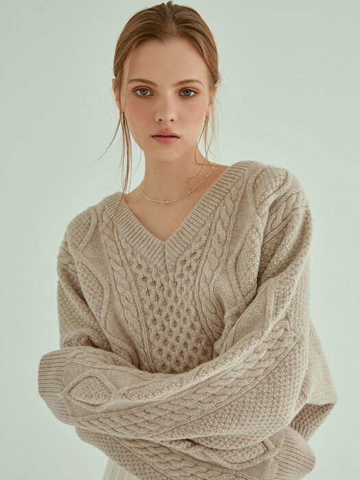 Cable Crop Wool Knit(Beige)