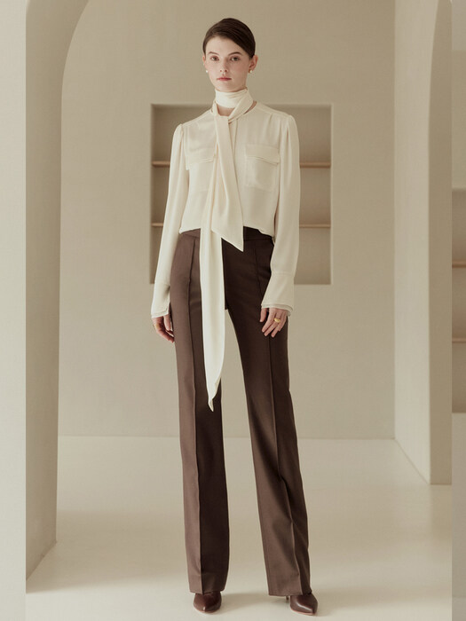 CECILE Pin tuck straight-fit trousers (Choco brown)