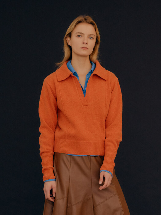 Lambswool Pin Tuck Collar Knit / Deep Orange