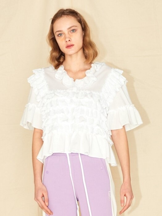 COTTON CAN-CAN BLOUSE_WHITE