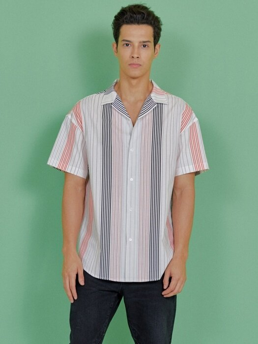 MULTI STRIPE HALF SHIRT [BLACK]