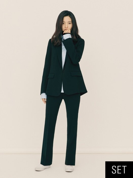 [Drama Collection] Blazer + Bootcut Trousers SET (BLACK)