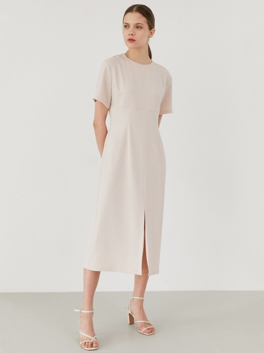 simple slit dress-beige