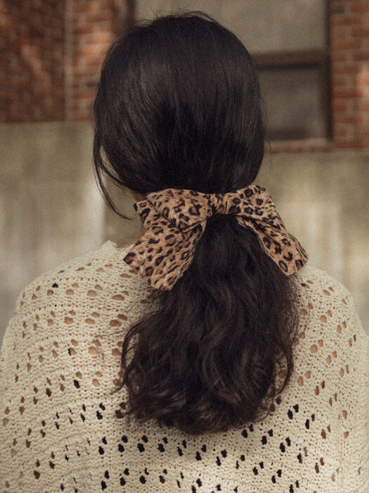 Leopard double ribbon hair clip