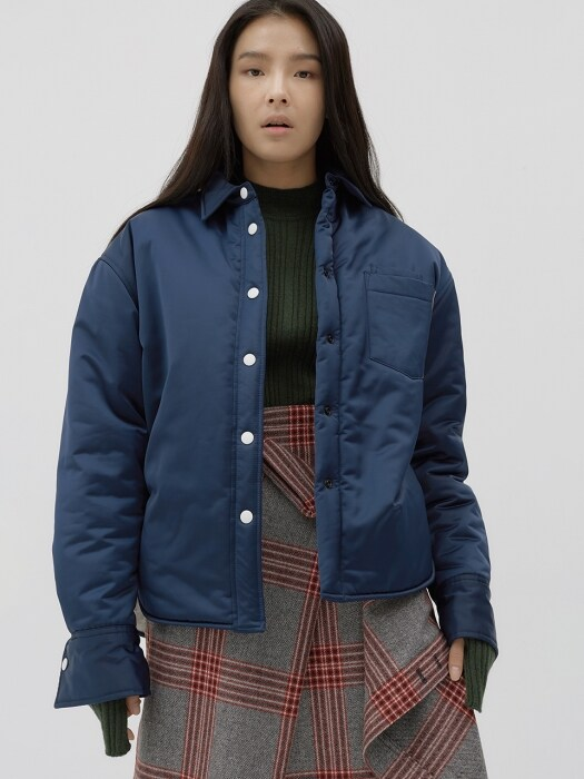 Inside-out oversized padding shirts Jacket [navy]