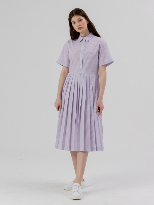 Pleats Shirt Onepiece [Light Purple stripe]