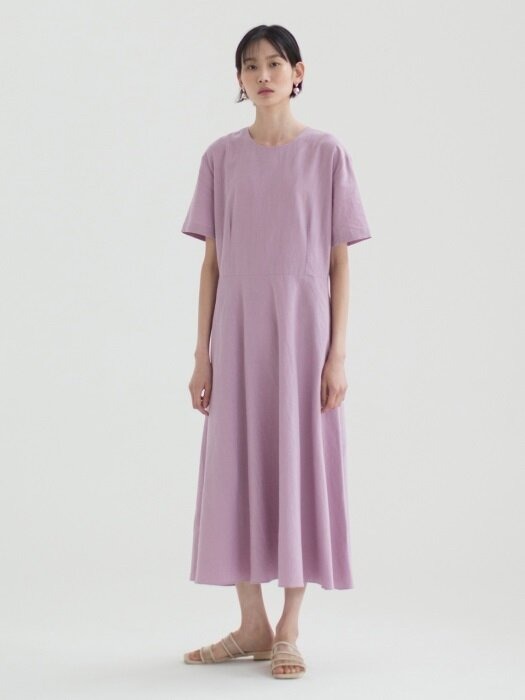 [16th Re-stock] Linen Flared Dress - Lavender