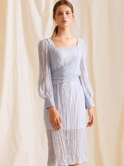 chiffon wrinkle dress_sky blue
