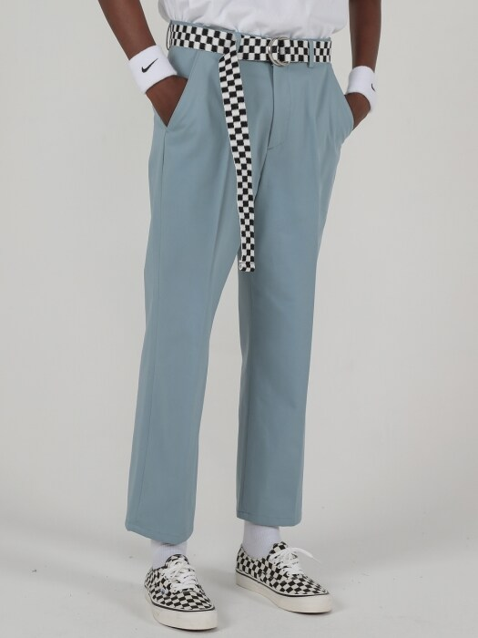 VIVID CROP COTTON PANTS (GREY MINT)