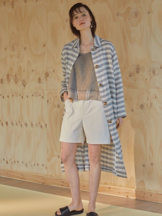롱 린넨 19ss - Robe check long jacket