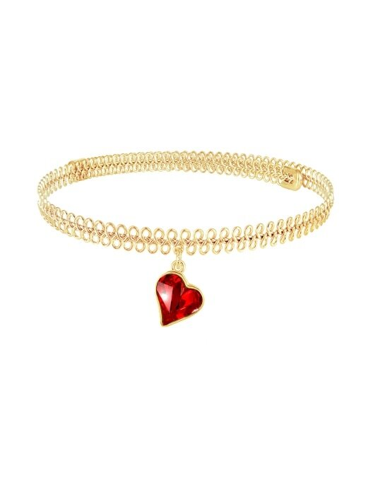 SWEET HEART CHOKER NECKLACE (RED)