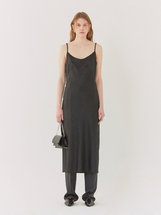 19SS MIDI SLIP DRESS BLACK
