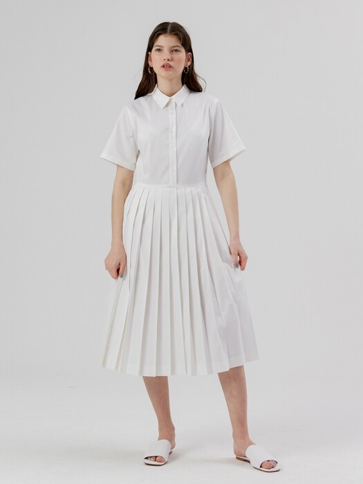Pleats Shirt Onepiece [White]