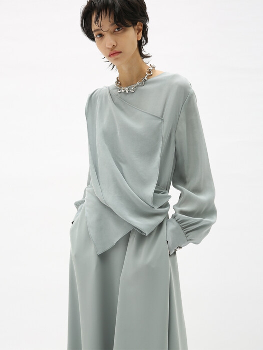 SOFIA WAIST DRAPED DRESS atb482w(CLOUD GREY)