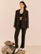 [Day-Wool] Single-breasted Belted Blazer + Side Slit Straight Trousers SET