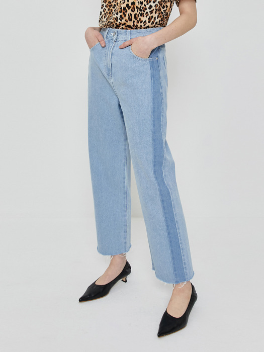 R LINE BLOCK DENIM PANTS