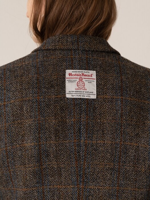 FW19 Harris tweed wool blazer brown