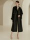 VIKA Relaxed fit leather trench coat with quilted lining (Black)