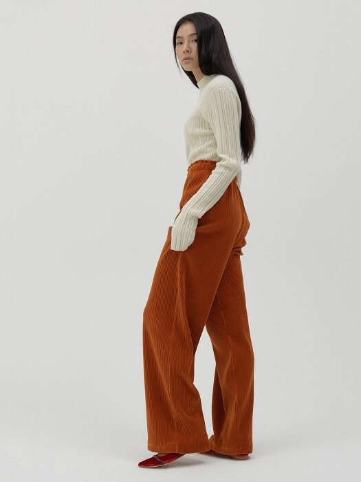 E band-waist Corduroy wide trousers [rustic orange]