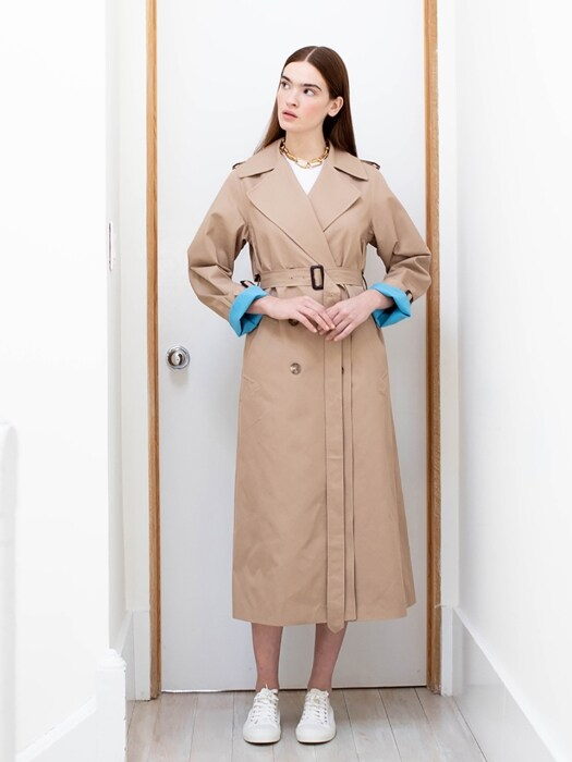 PRINCETON classic trench coat (Caramel brown & Cerulean blue)