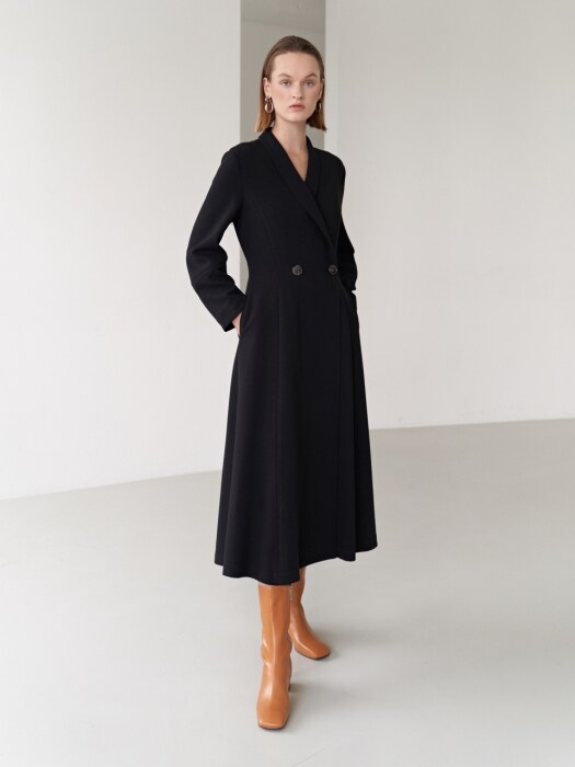 19FW SHAWL COLLAR DRESS BLACK