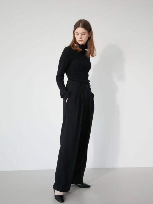 19' WINTER_BLACK SIMPLE WIDE PANTS
