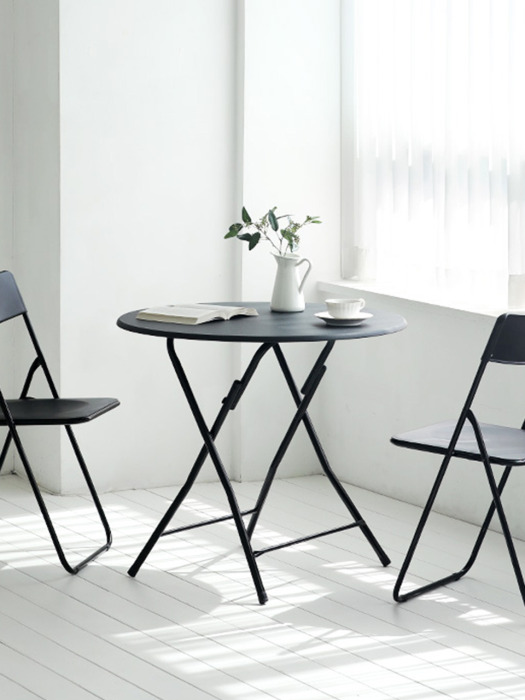 Black Urban Folding Table - Round