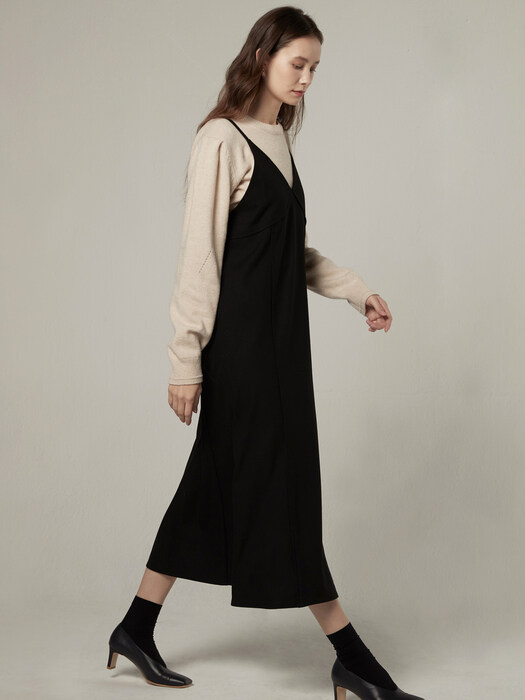 Wool strap layered dress - Black
