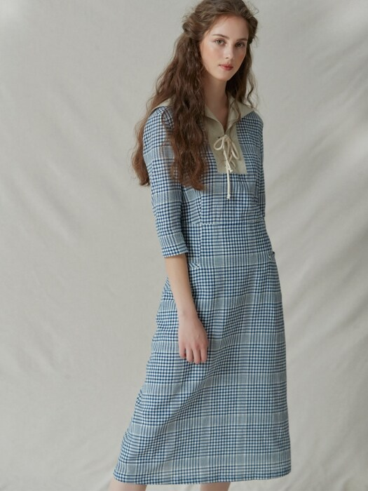 Sailor-collar gingham check dress