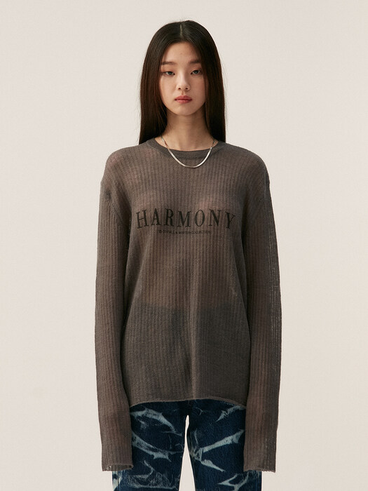HARMONY SHEER KNIT TOP, DARK GRAY