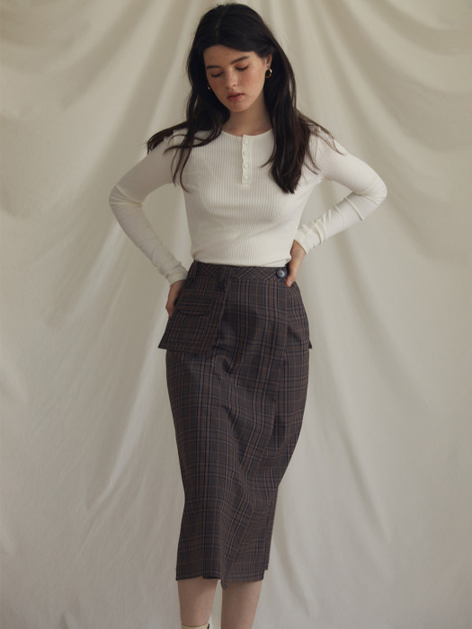ES POCKET CHECK SKIRT(KHAKI)