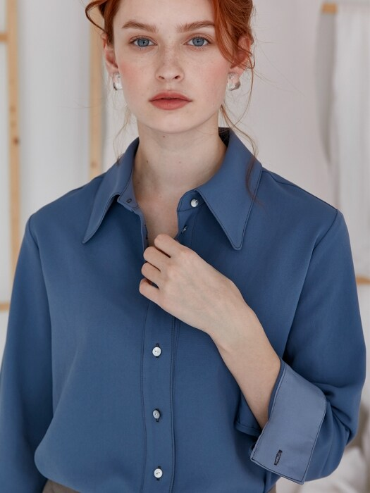 comos`270 basic stitch shirt (dusty blue)